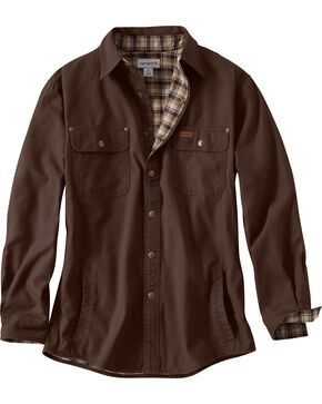 Carhartt Men's Weathered Canvas Shirt Jacket, Dark Brown, hi-res