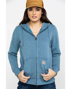 Carhartt Women's Heather Blue Clarksburg Hooded Jacket, Heather Blue, hi-res