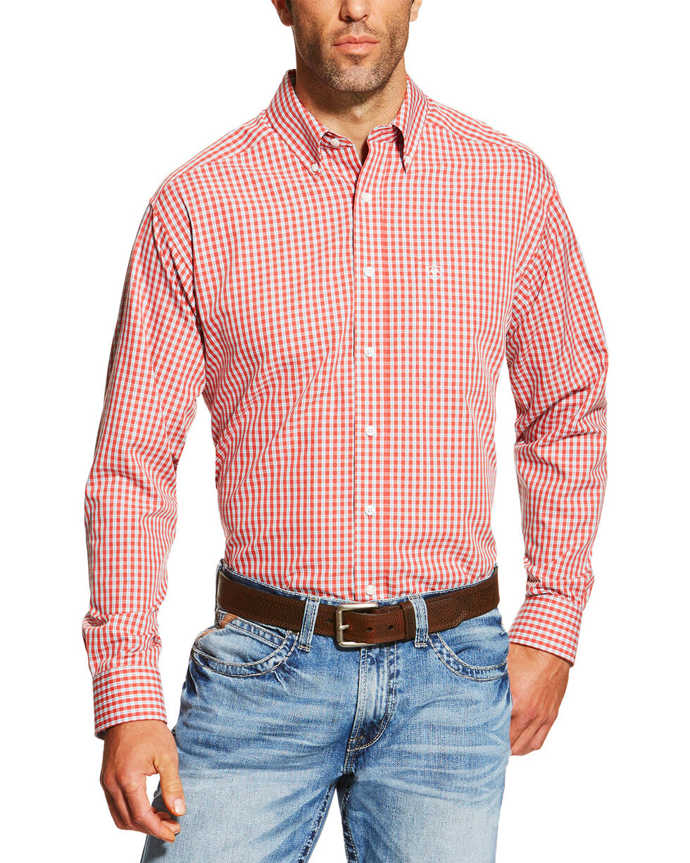 Ariat Men's Hamilton Wrinkle Free Plaid Long Sleeve Western Shirt, Red, hi-res