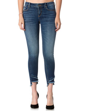 Miss Me Women's A-Frayed Not Ankle Skinny Jeans , Indigo, hi-res