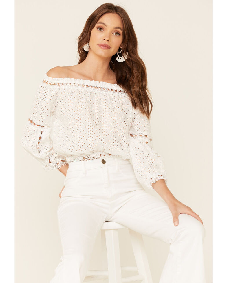 Elan Women's Off Shoulder Lace Long Sleeve Top , White, hi-res