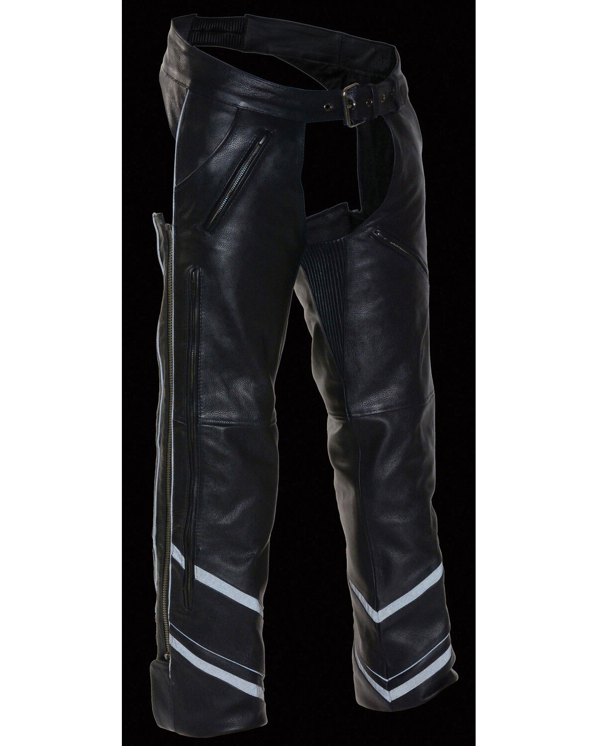 Black, Medium Milwaukee Mens Vented Leather Chaps