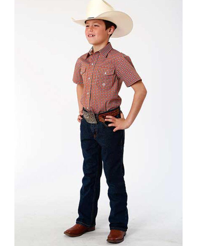 Amarillo Boys' Clay Foulard Geo Print Short Sleeve Western Shirt , Orange, hi-res