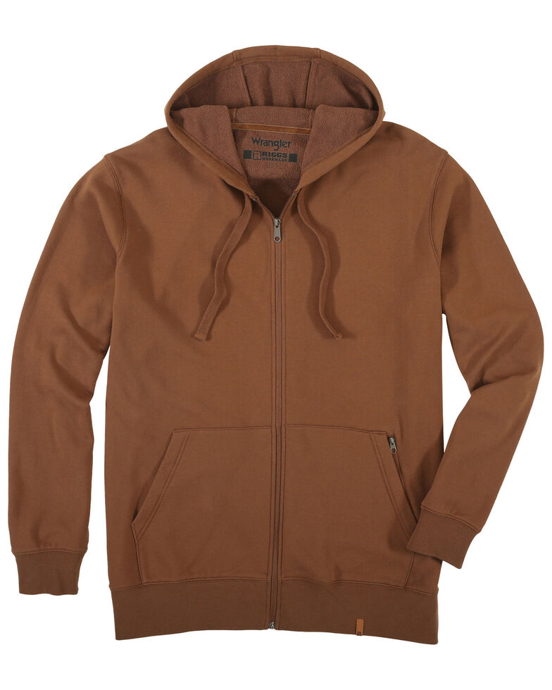 Wrangler Riggs Men's Coffee Full Zip Hooded Thermal Work Jacket , Coffee, hi-res