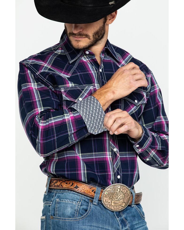 Wrangler 20X Men's Advanced Comfort Magenta Plaid Long Sleeve Western Shirt , Magenta, hi-res