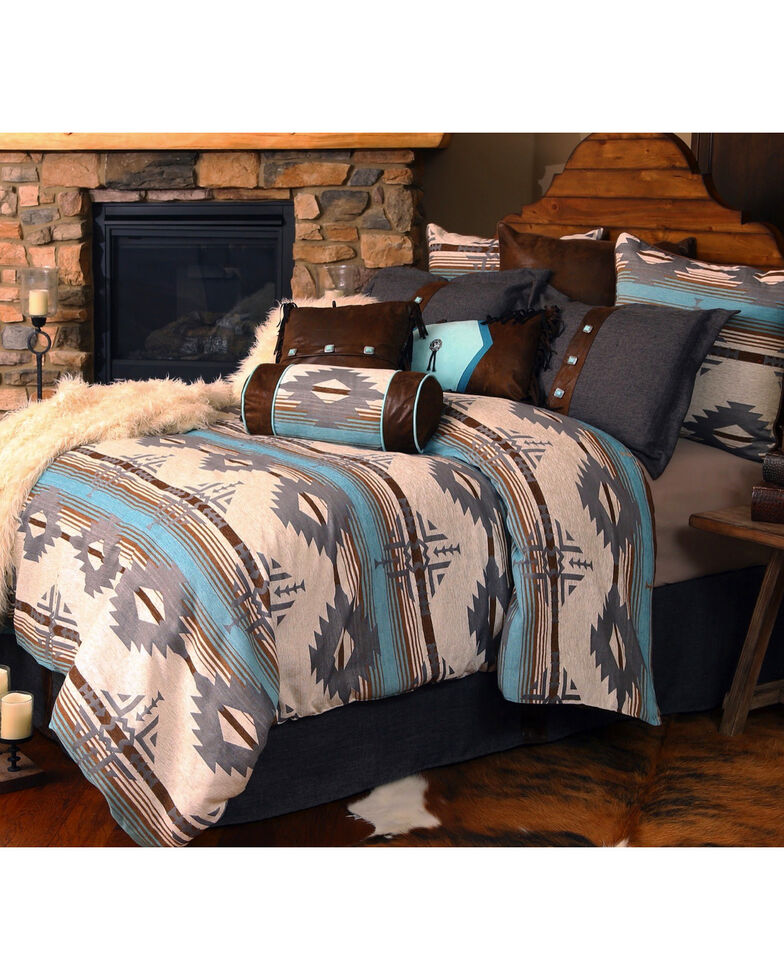 Carstens Badlands King Bedding - 5 Piece Set, Turquoise, hi-res