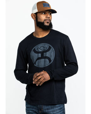 Hooey Men's 2.0 Vintage Jersey Long Sleeve Shirt , Black, hi-res