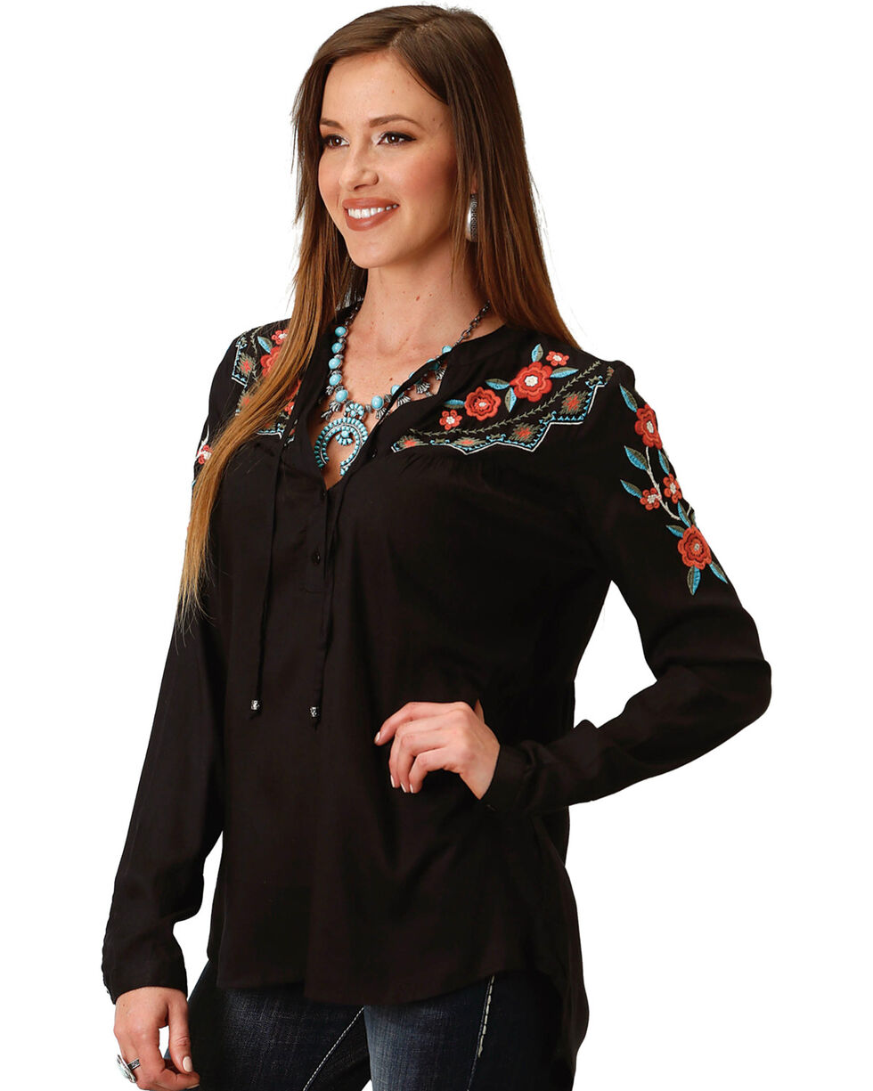 Roper Women's Embroidered Peasant Blouse, Black, hi-res