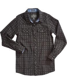 b28bd295 Cody James Boys Railroad Print Long Sleeve Snap Shirt, Black, hi-res