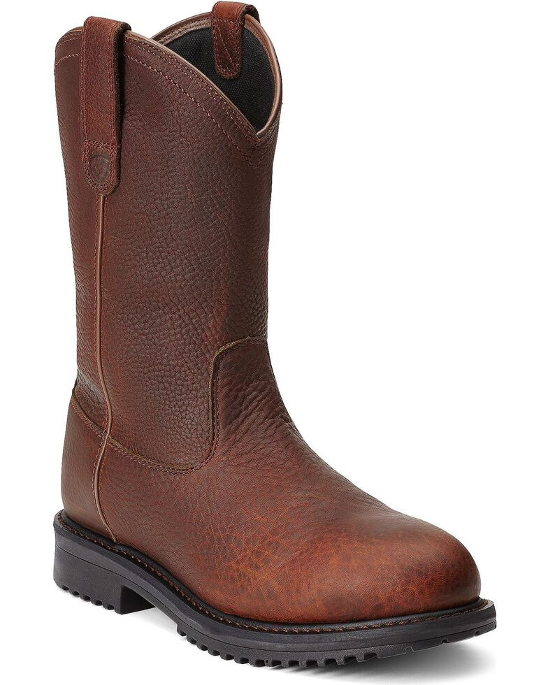 Ariat Men's RigTek Pull-On H2O CT Work Boots, Brown, hi-res