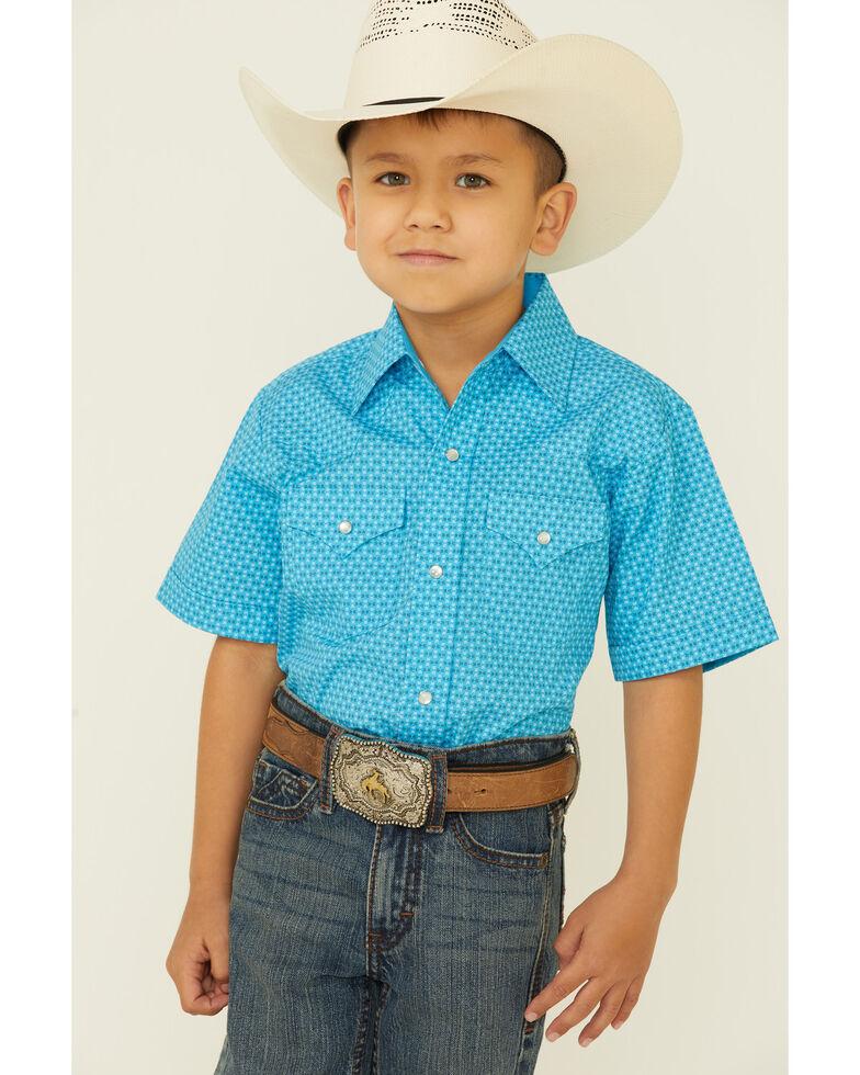 Ely Walker Boys' Aqua Chevron Geo Print Short Sleeve Snap Western Shirt , Aqua, hi-res