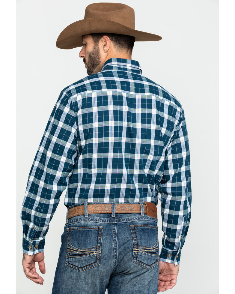 Wrangler Riggs Men's Navy Plaid Long Sleeve Work Shirt , Navy, hi-res