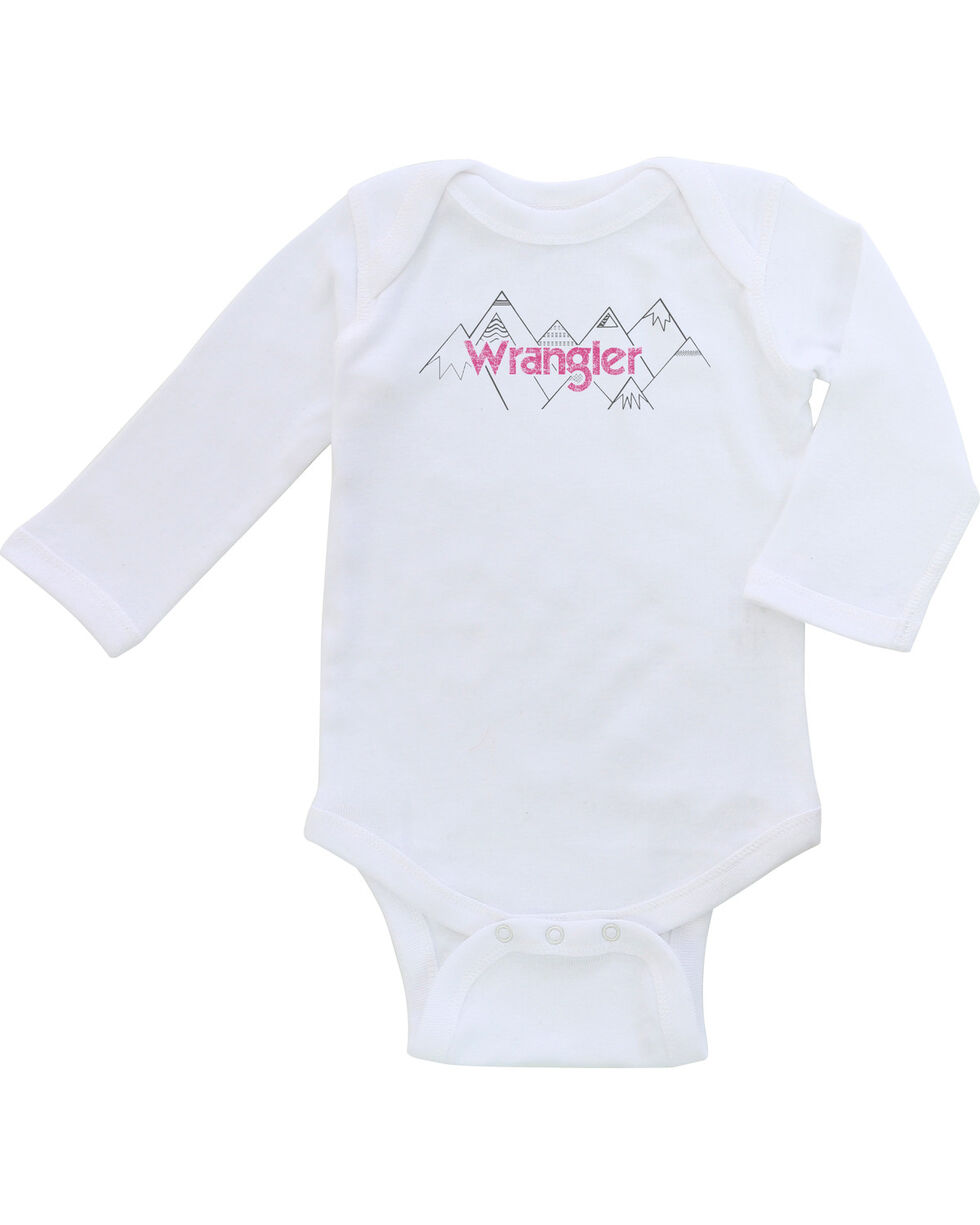 Wrangler Infant Girls' White Screenprint Onesie , White, hi-res