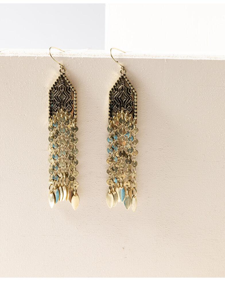 Shyanne Women's Gilded Gold Fringe Earrings, Gold, hi-res