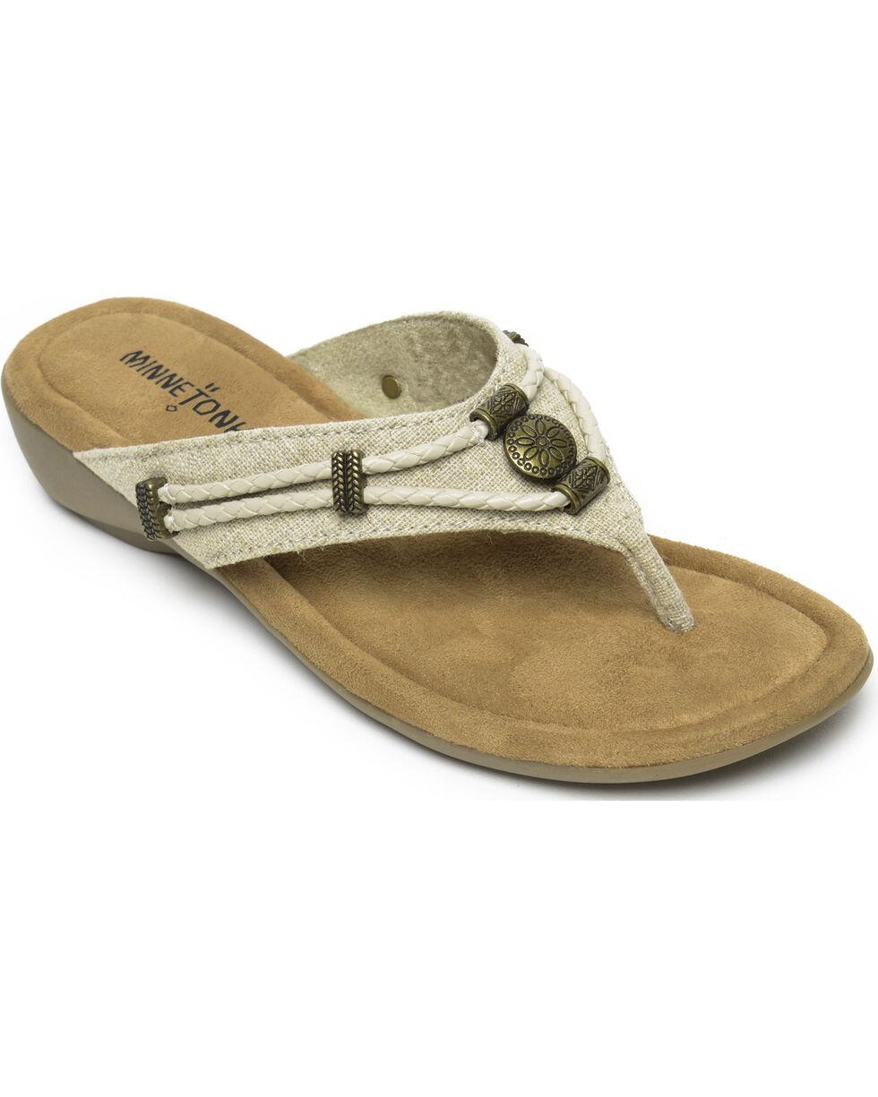 Minnetonka Women's Natural Silverthorne Thong Sandals , Natural, hi-res