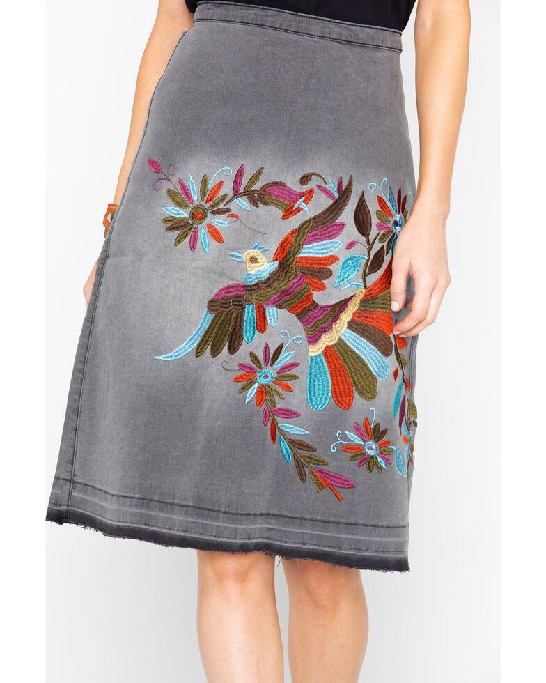 Angel Premium Women's Margarie Embroidered Skirt  , Heather Grey, hi-res