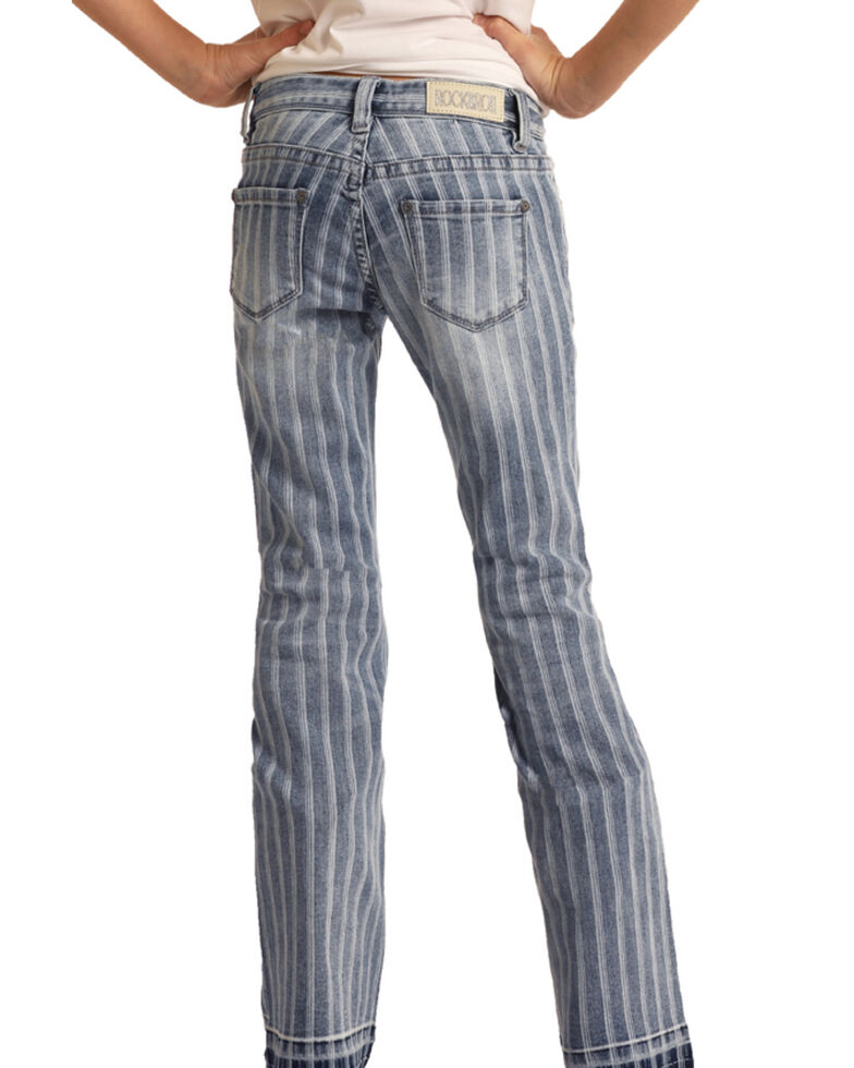 Rock & Roll Denim Girls' Striped Trouser Jeans  , Blue, hi-res