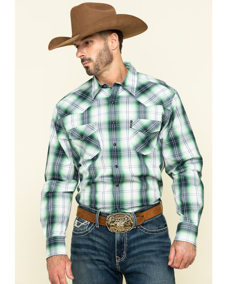 Cinch Men's Modern Fit Green Plaid Long Sleeve Western Shirt , Green, hi-res