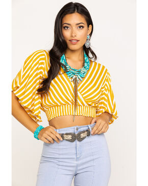 Angie Women's Mustard Stripe Crop Top , Dark Yellow, hi-res