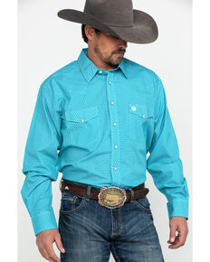 Cinch Men's Teal Geo Print Snap Long Sleeve Western Shirt , Teal, hi-res