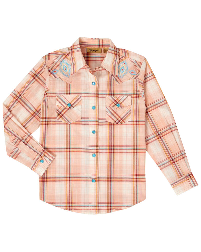 Wrangler Girls' Peach Plaid Snap Long Sleeve Western Shirt , Peach, hi-res