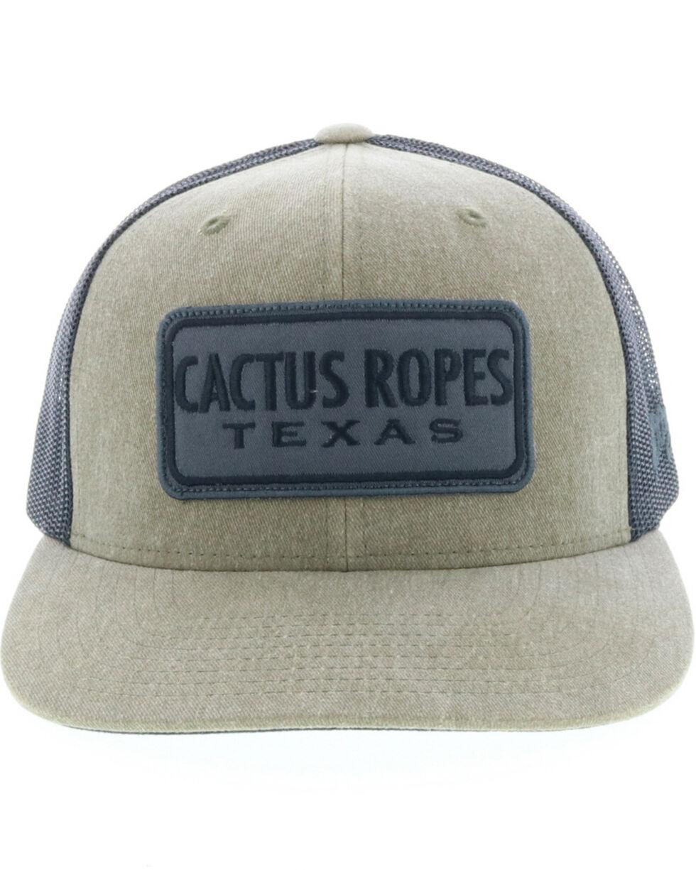 HOOey Men's Grey Cactus Ropes Logo Trucker Cap, Olive, hi-res
