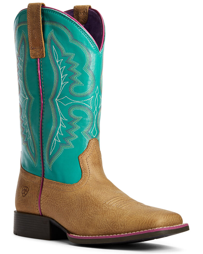 Ariat Girls' Ace Light Western Boots - Wide Square Toe, Brown, hi-res