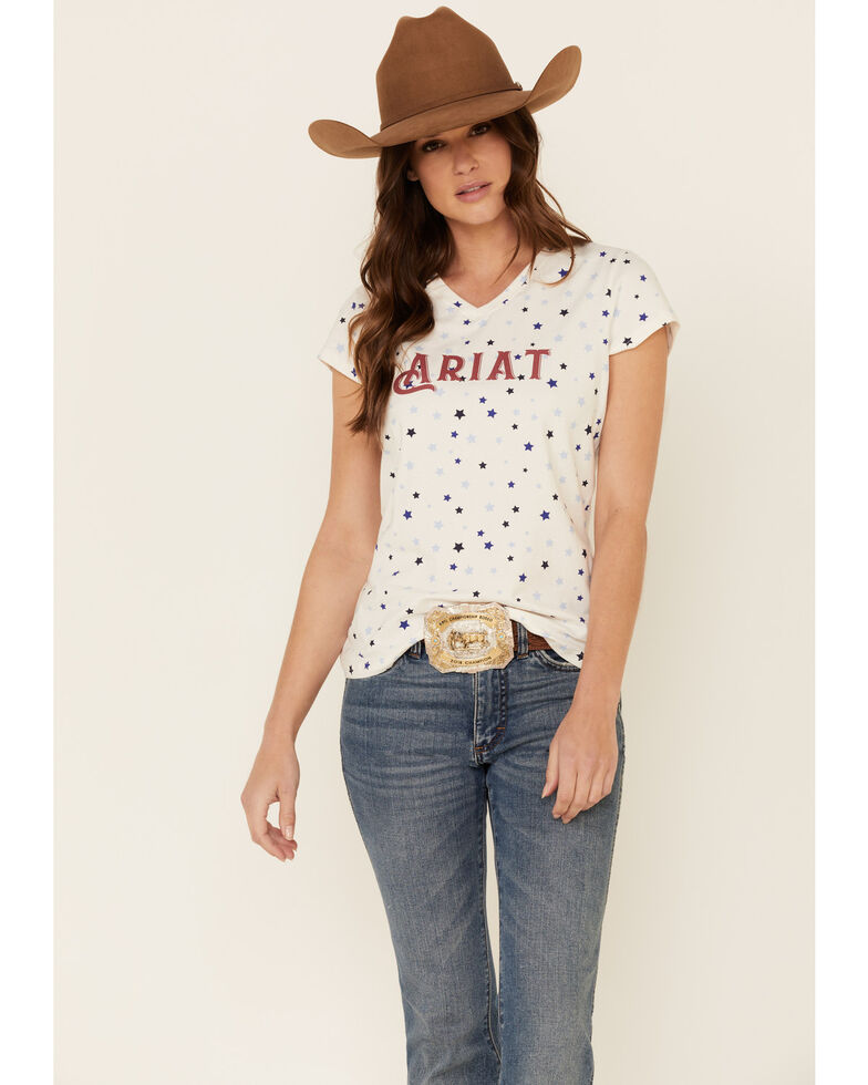 Ariat Women's R.E.A.L Bespangled Star Print Logo Short Sleeve Tee , White, hi-res