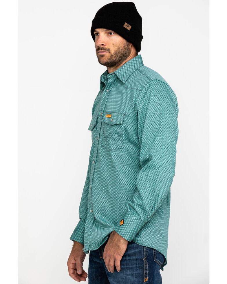 Wrangler Riggs Men's FR Green Geo Print Long Sleeve Work Shirt - Big & Tall , Green, hi-res