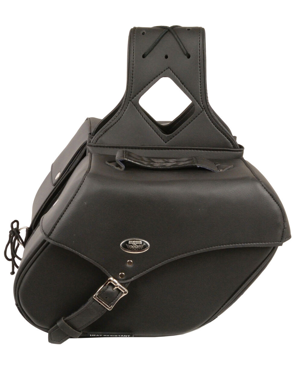 Milwaukee Leather Medium Zip-Off Single Strap Throw Over Saddle Bag, Black, hi-res