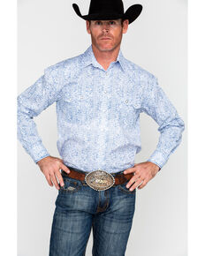 Panhandle Men's Rough Stock Lamond Vintage Print Long Sleeve Western Shirt , White, hi-res