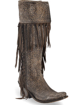 Liberty Black Women's Dark Brown Micro Jaguar Tall Fringe Boots - Narrow Square Toe , Dark Brown, hi-res