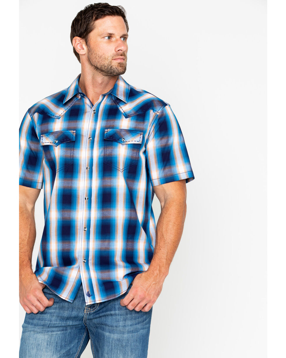 Cody James Men's Sunset Valley Ombre Plaid Short Sleeve Western Shirt , Navy, hi-res