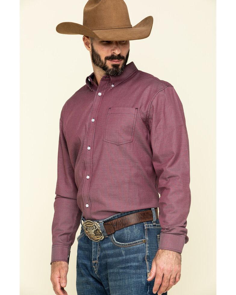 Cody James Core Men's Holler Geo Print Long Sleeve Western Shirt , Red, hi-res