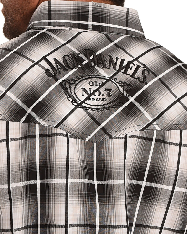 Jack Daniel's Men's Black Plaid Traditional Logo Short Sleeve Western Shirt , Black, hi-res