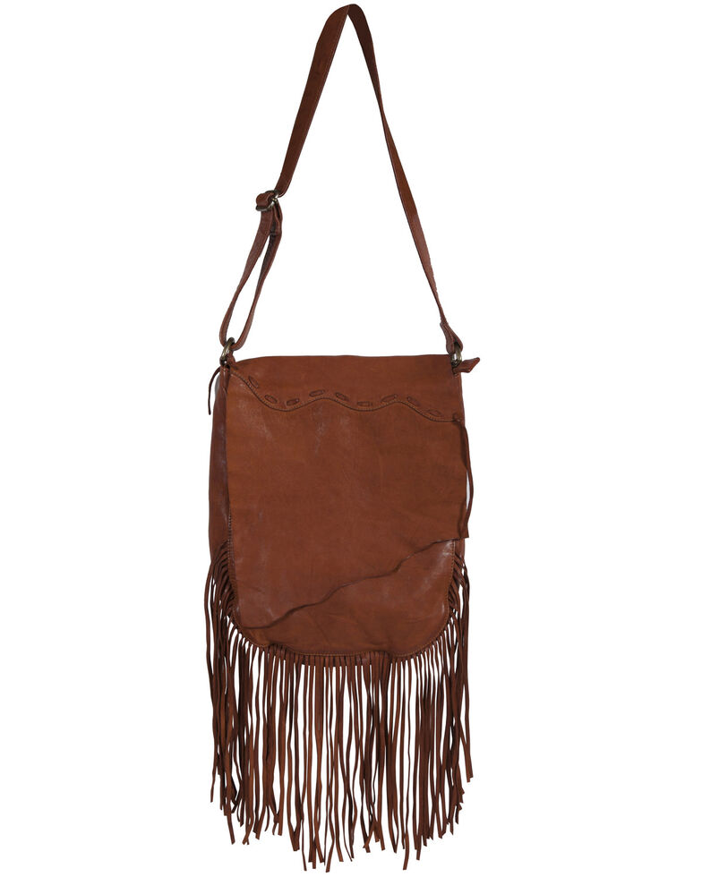Scully Women's Soft Leather Fringe Crossbody Bag, Tan, hi-res