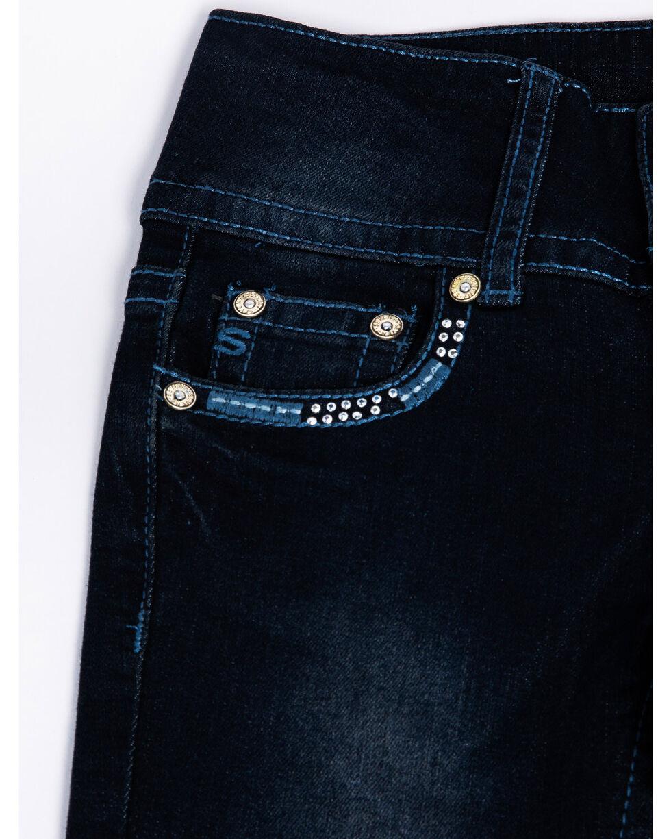 Seven7 Girls' Las Vegas Embroidered Pocket Dark Boot Jeans, Blue, hi-res