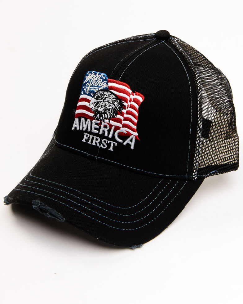 Moonshine Spirit Men's America First Flag Patch Mesh Ball Cap, Black, hi-res