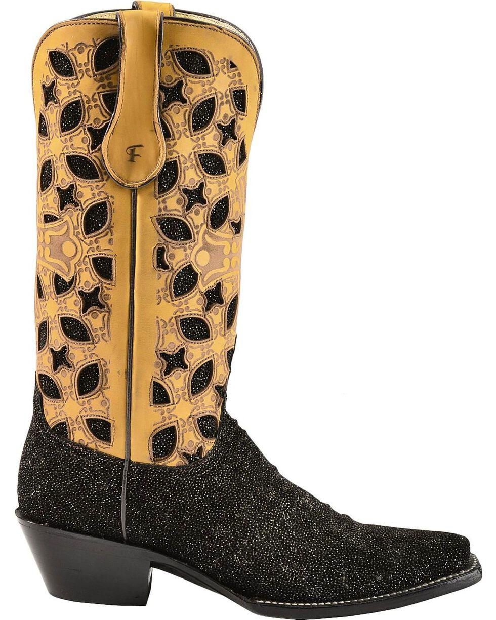 Ferrini Glitter Vamp & Inlay Cowgirl Boots - Snip Toe, Black, hi-res