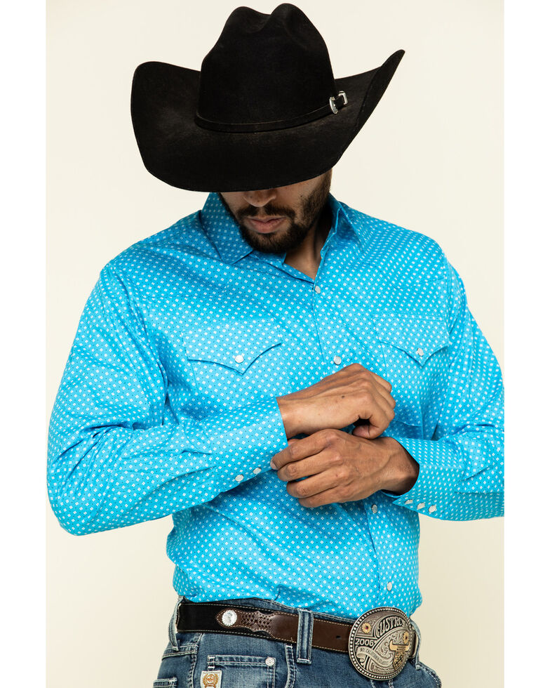 Ely Cattleman Men's Multi Small Geo Print Long Sleeve Western Shirt , Turquoise, hi-res