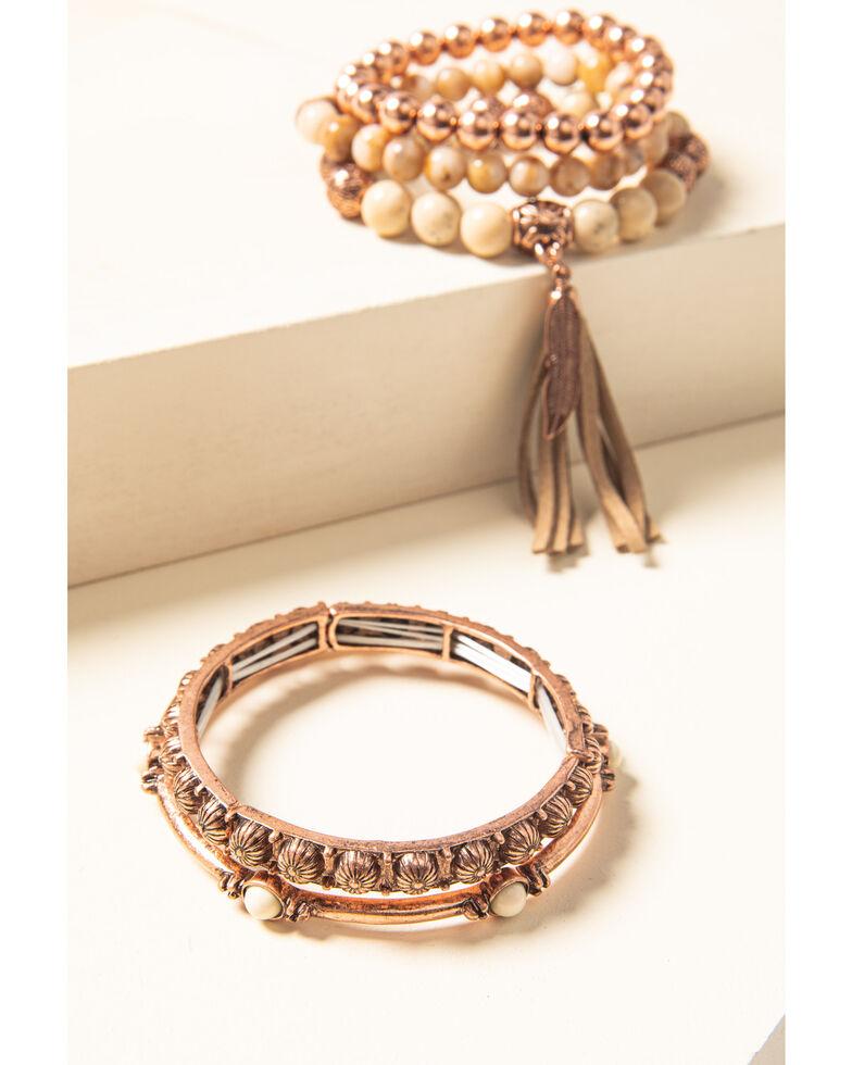 Shyanne Women's Desert Dreams Stretch Bead & Bangle Bracelet Set, Rust Copper, hi-res