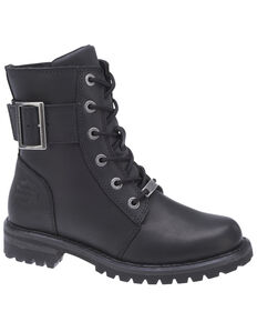Harley Davidson Women's Stylewood Moto Boots - Round Toe, Black, hi-res