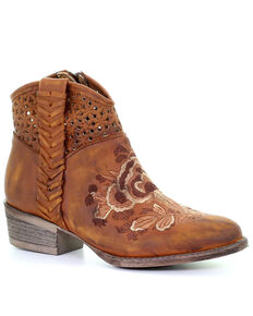 Corral Women's Boho Floral Embroidered Fashion Booties - Round Toe, Brown, hi-res
