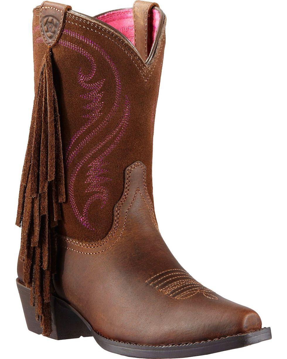 Ariat Girl's Fancy Fringe Western Boots, Distressed, hi-res