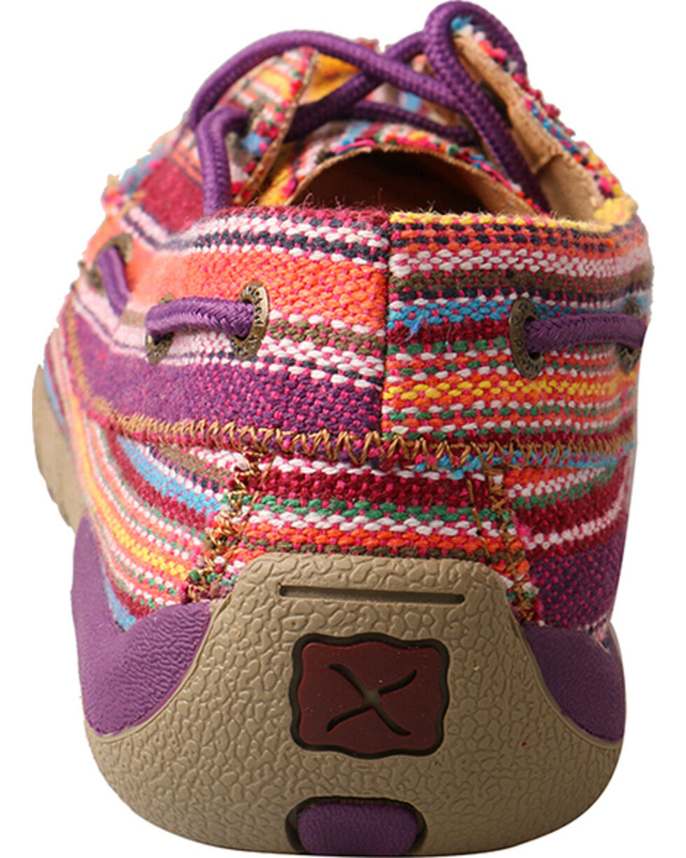 Twisted X Women's Purple Multi-Striped Driving Moccasins - Moc Toe, Purple, hi-res
