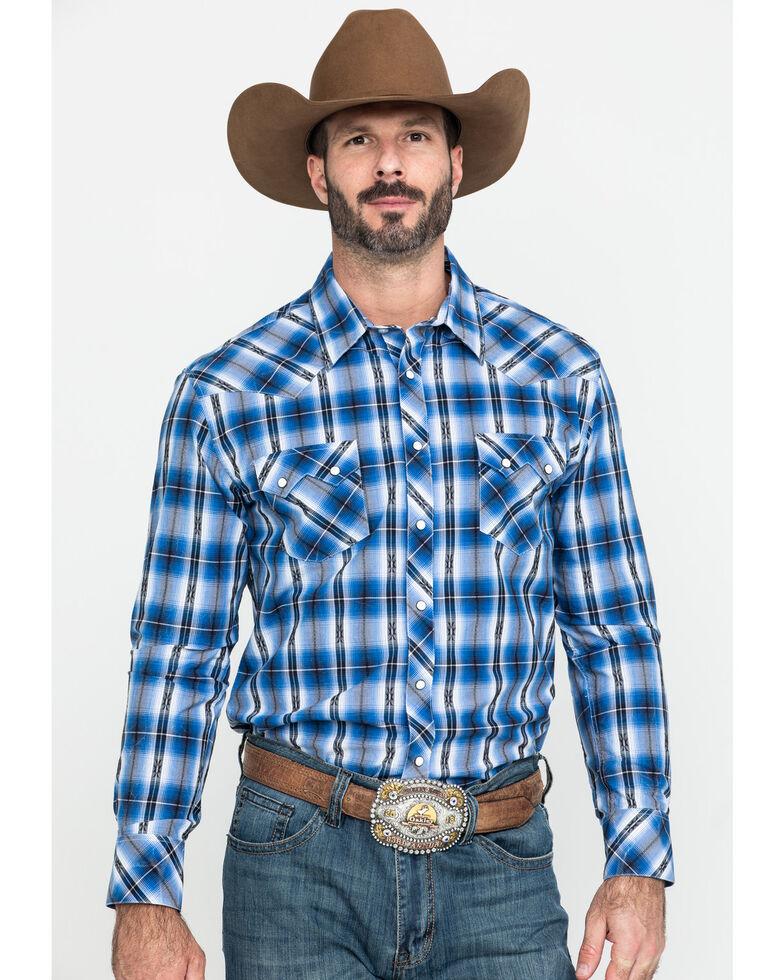 Rock & Roll Cowboy Men's Blue Dobby Plaid Long Sleeve Western Shirt , Blue, hi-res
