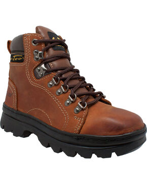 "Ad Tec Women's 6"" Leather Work Hiker Boots - Soft Toe, Brown, hi-res"