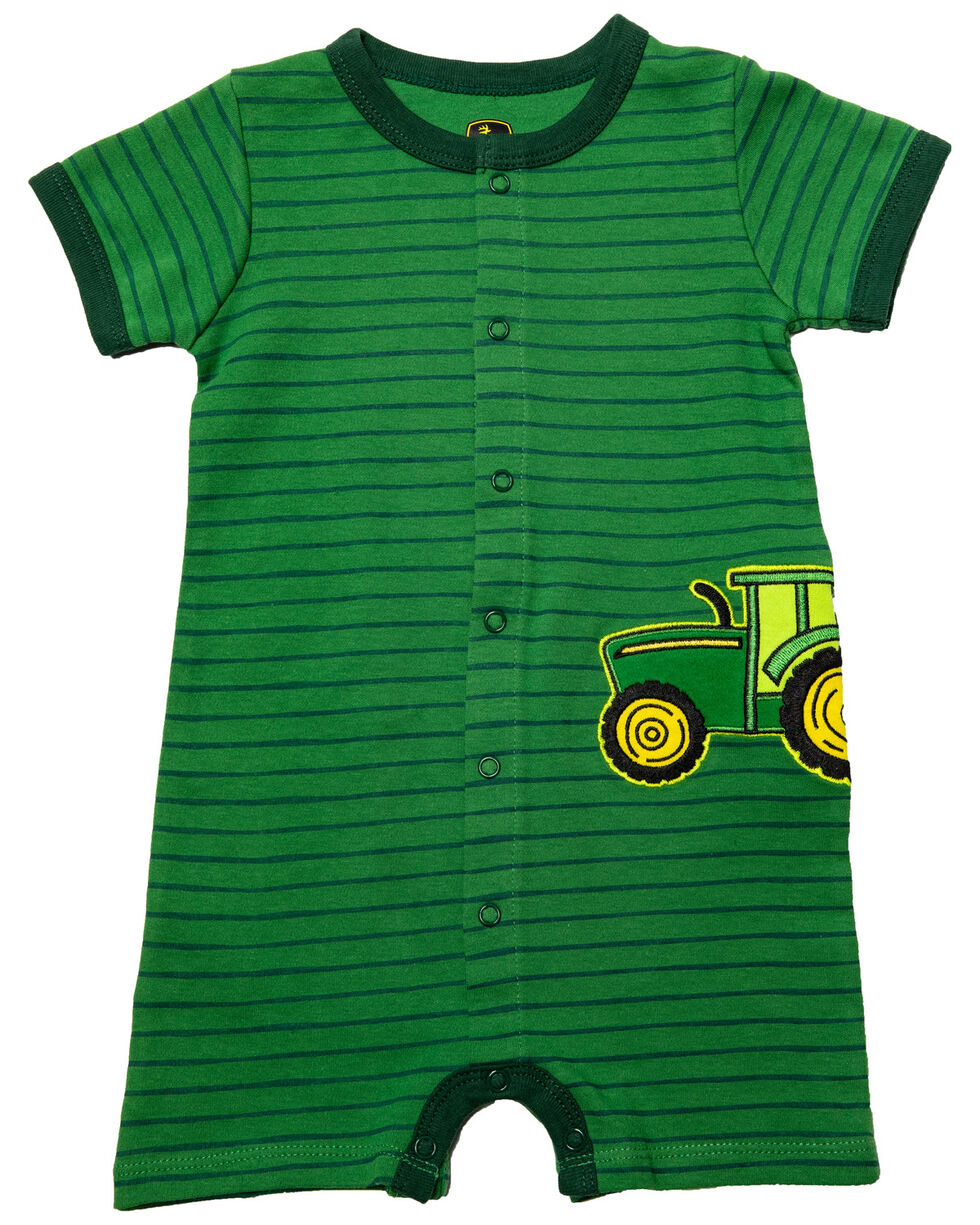 John Deere Infant Boys' Tractor Striped Onesie, Green, hi-res