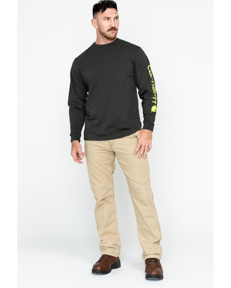 Carhartt Men's Signature Logo Long Sleeve Knit Work T-Shirt , Bark, hi-res