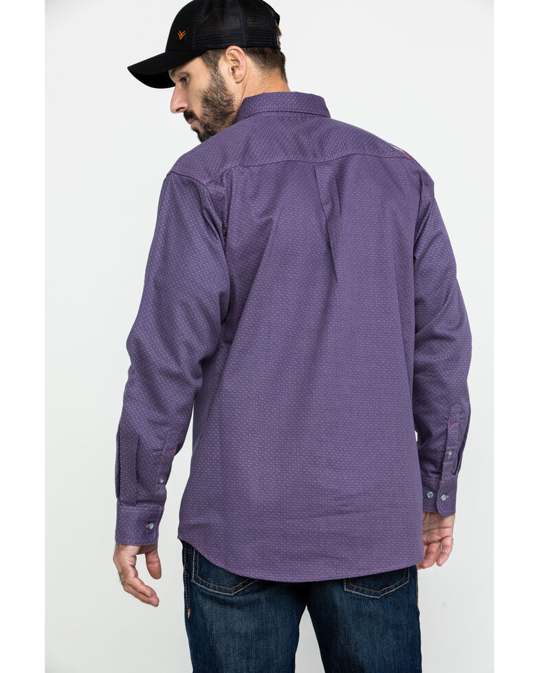 Ariat Men's FR Octane Geo Print Long Sleeve Work Shirt , Silver, hi-res